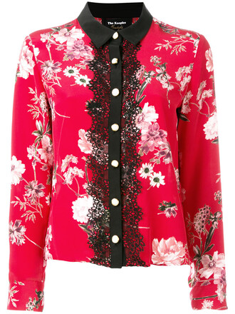 blouse women lace floral silk red top