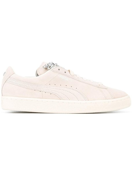 puma women embellished sneakers lace leather nude suede shoes