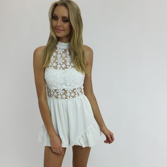 romper white romper lace white lace lace playsuit peppermayo