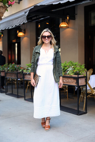 bows&sequins blogger bag shoes sunglasses jewels white dress green jacket green bomber jacket bomber jacket clutch
