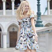 dress,floral,spring dress,flowers,blue,white,black,pastel,summer dress,joa,short dress,off the shoulder,off the shoulder dress,revolve clothing