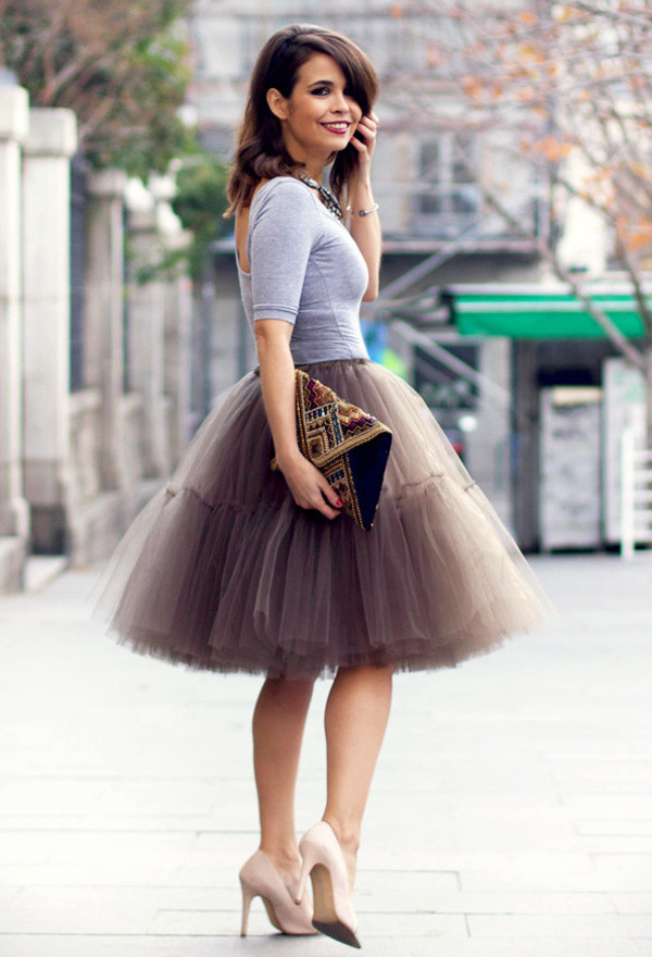 skirt tulle skirt brown cute