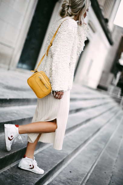 9afcb96ecc14 happily grey blogger shoes dress cardigan bag sweater tumblr white sweater  fuzzy sweater yellow bag white