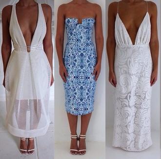 dress white dress blue dress floral pattern dress backless dress low cut dress mesh dress