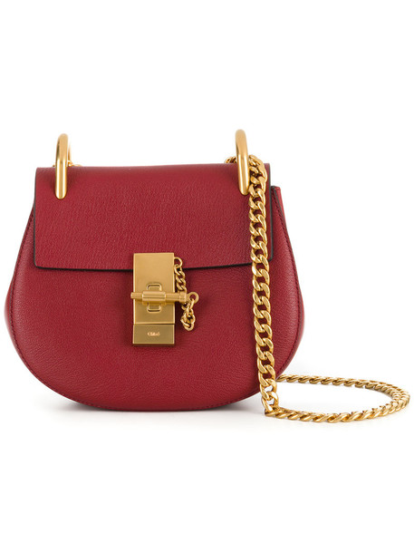 Chloe mini women bag shoulder bag suede red