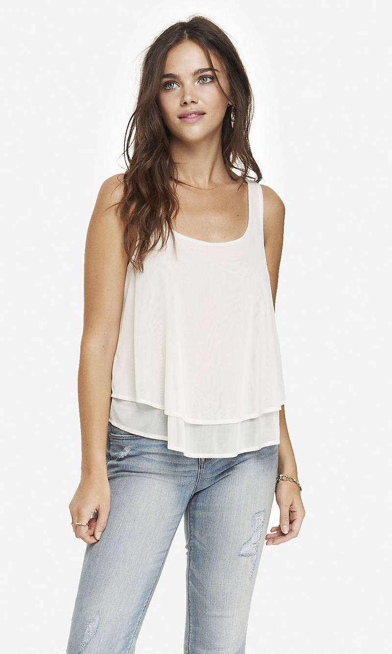 TWO LAYER SPLIT BACK TANK from EXPRESS