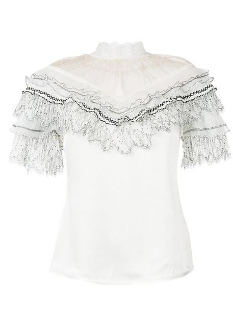 self-portrait blouse women white top