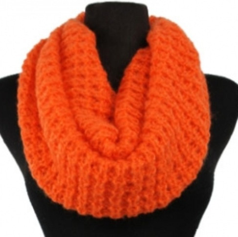 Soft Warm and Cozy Solid Orange Crochet Infinity Scarf