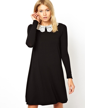 ASOS | ASOS Swing Dress With Crochet Collar And Long Sleeves at ASOS