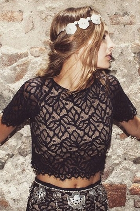 For Love & Lemons Buenas Noches Crop Top in Black