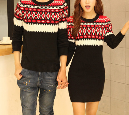 Pull Couple Noel 177 Couples Geometric Red Sweater