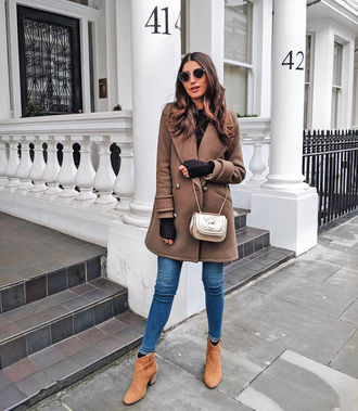 coat tumblr brown coat denim jeans blue jeans skinny jeans boots ankle boots nude boots bag crossbody bag sunglasses