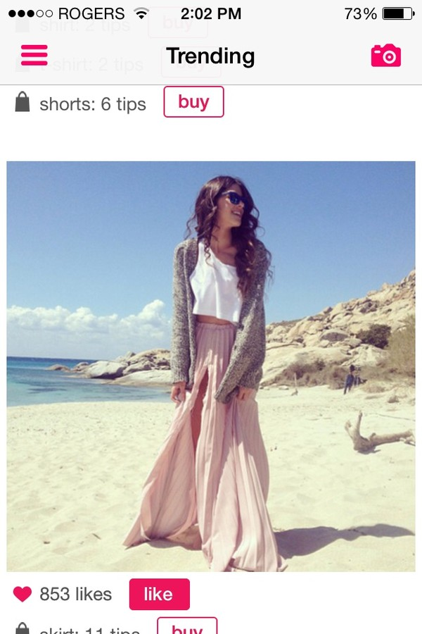 blouse skirt shirt beach water pink white sweater