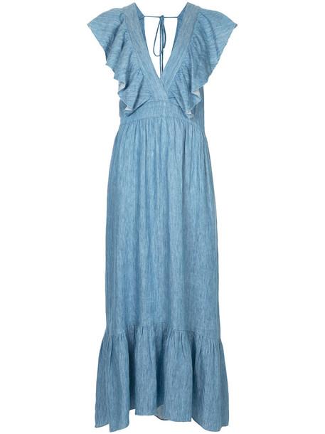 Lee Mathews dress ruffle dress denim ruffle women blue