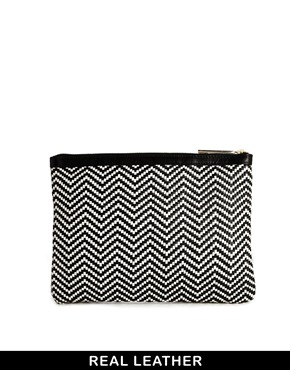 Whistles | Whistles Leather Woven Clutch Bag in Black and White at ASOS