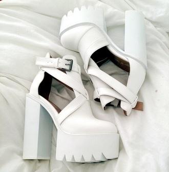shoes white platform chunky chunky heels