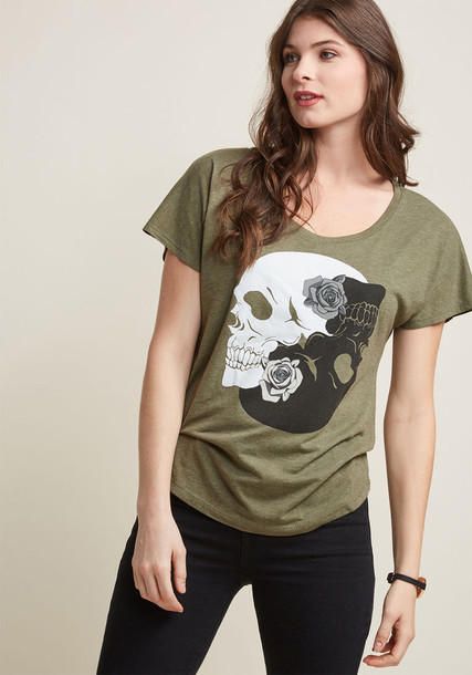 IMF0160047B t-shirt shirt graphic tee t-shirt edgy perfect fit coffee milk green grey roses top