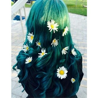 hair accessory hairstyles cute daisy floral hair pastel hair green hair