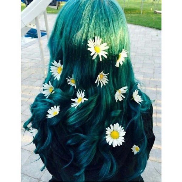 hair accessory hair accessory hairstyles cute daisy floral hair pastel hair green hair