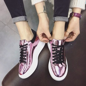 shoes sneakers metallic pink trainers