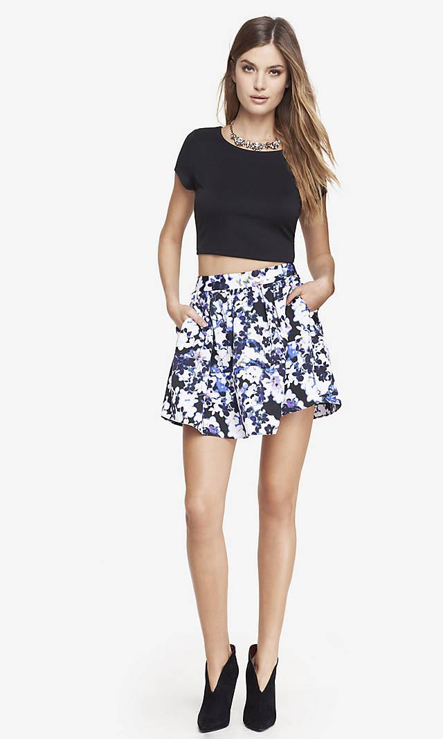 Floral high waist full mini skirt from express
