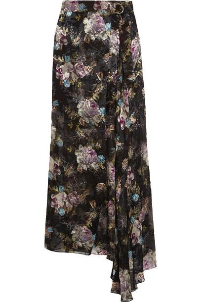 skirt maxi skirt maxi chiffon floral print black lavender