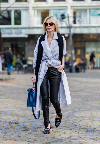 lisa rvd blogger bag shoes scarf leather pants coat waist belt blue bag black flats gucci princetown gucci gucci shoes black pants black leather pants sunglasses tortoise shell tortoise shell sunglasses blue coat streetstyle