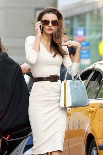 dress eggshell white dress office outfits off-white beige beige dress belt midi skirt style fashion sexy dress chic classy v neck neutral three-quarter sleeves sunglasses summer dress fall outfits spring