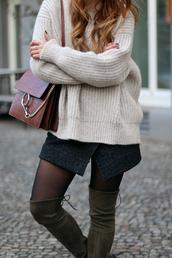 skirt,tumblr,mini skirt,grey skirt,wool,wrap skirt,slit skirt,sweater,white sweater,bag,brown bag,leather bag,brown leather bag,tights,boots,over the knee boots,thigh high boots