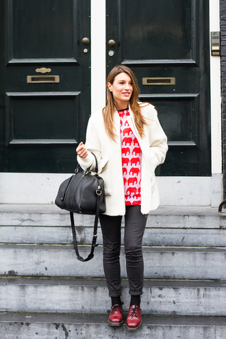 style and trouble blogger bag jacket jeans red sweater oxfords winter outfits