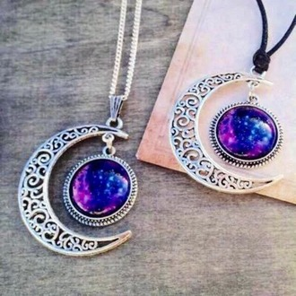 jewels silver necklace galaxy moon necklace