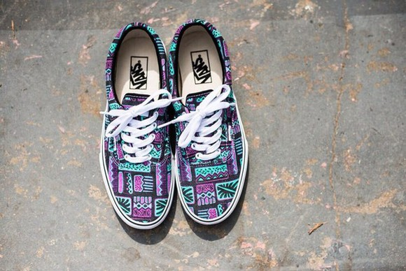 shoes vans light blue tribal pattern classic purple shoes