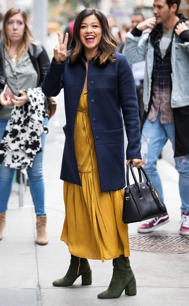 dress gina rodriguez mustard mustard dress jacket fall outfits
