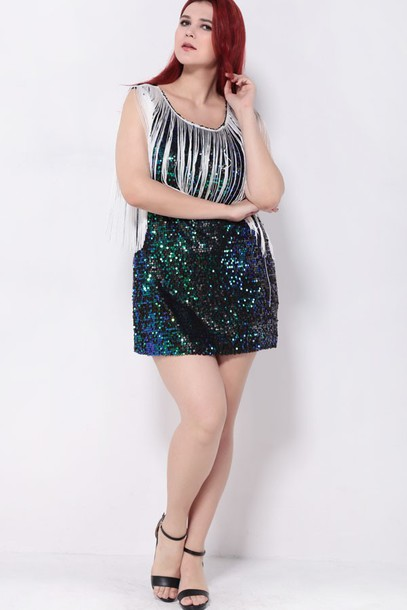 Dress Plus Size Dress Sexy Dress Sequin Dress Green Dress