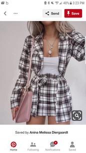 skirt,romper,plaid skirt,plaid shirt,outfit idea