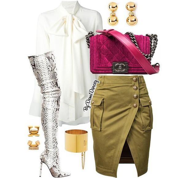 hot kaki skirt classy boots cuissardes