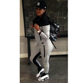 jumpsuit,sweats,hoodie,shoes,tracksuit,nike,grey,bernice burgos,nike tracksuit,nike sneakers,pants,black,nikr zip up,nike running shoes,outfit