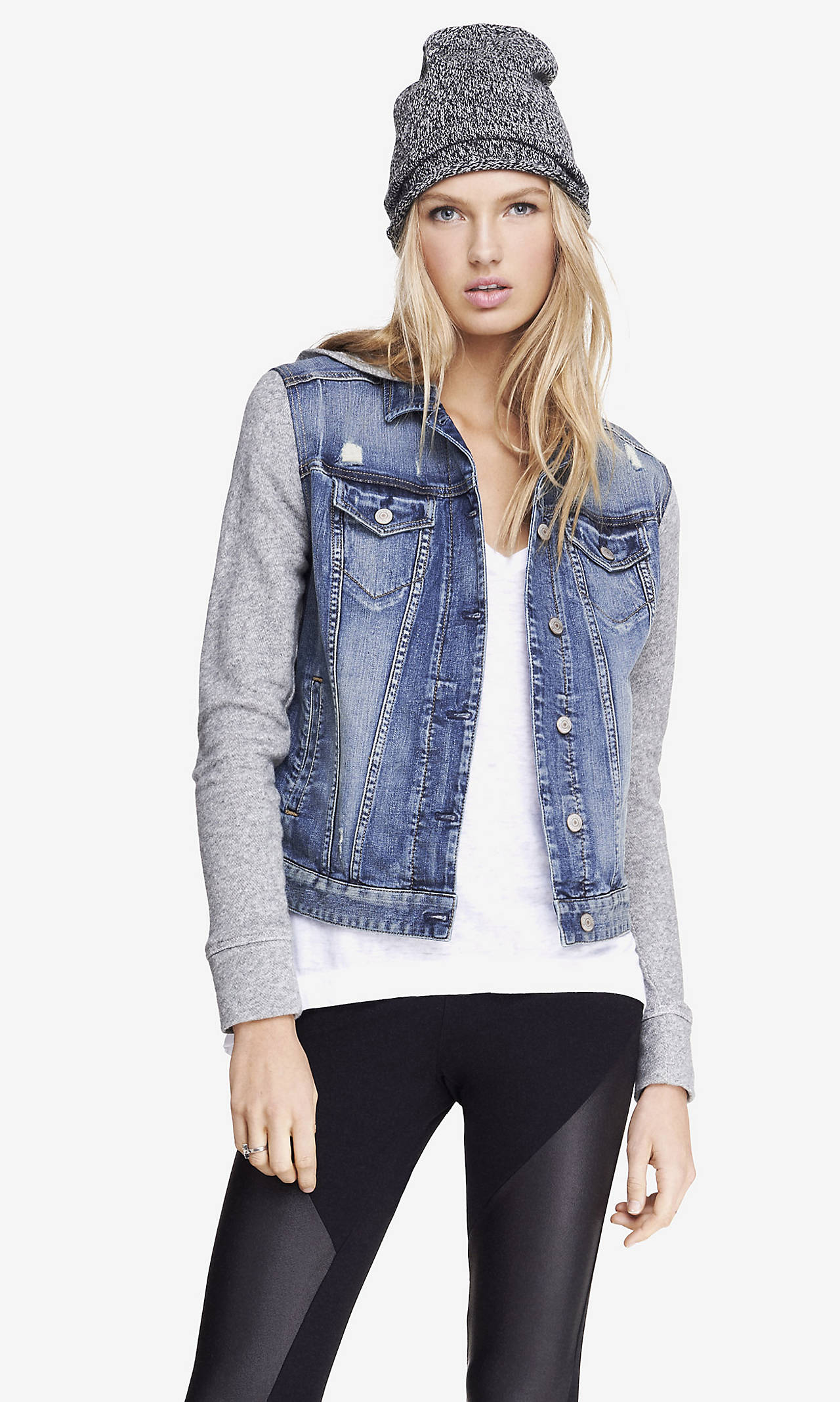 SLEEVE HOODED DENIM JACKET from EXPRESS