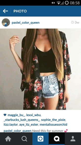 shirt summer pretty top kimono cardigan shorts