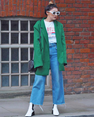 jacket tumblr blazer oversized t-shirt white t-shirt sunglasses denim jeans blue jeans wide-leg pants boots white boots ankle boots