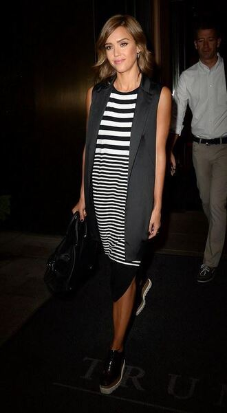 dress midi dress stripes striped dress jessica alba black and white shoes