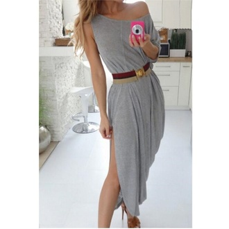 dress maxi dress off the shoulder sexy dress high split dresses grey dress one shoulder