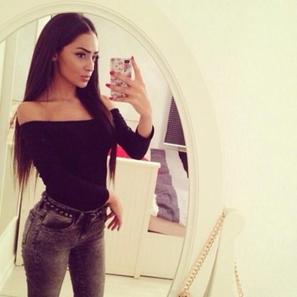 shirt black girl beautiful phone