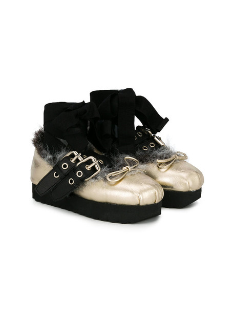 Douuod Kids fur faux fur leather grey metallic shoes