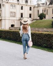 top,white top,hat,tumblr,open back,backless,backless top,bag,handbag,denim,jeans,blue jeans,sun hat,open back top,sexy