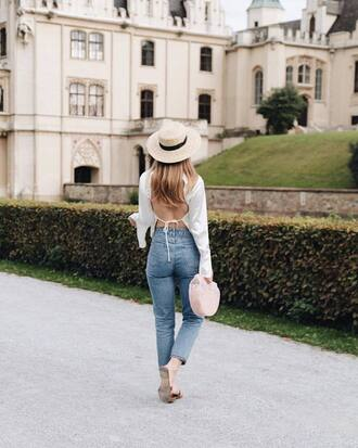 top white top hat tumblr open back backless backless top bag handbag denim jeans blue jeans sun hat