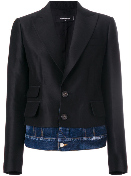 blazer denim women cotton black silk wool jacket