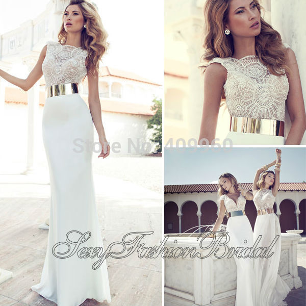 Aliexpress.com : Buy New Arrival O Neck With Beaded A line Natural Waist Floor length Chiffon Bridal Wedding Dresses Gown Vestido De Noiva 2014 from Reliable flower wedding dress suppliers on sexyfashionbridal