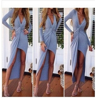 high deep v neck dress long dress irregular slim dress summer dress long sleeve dress grey blue dress black sexy dress high waist dress