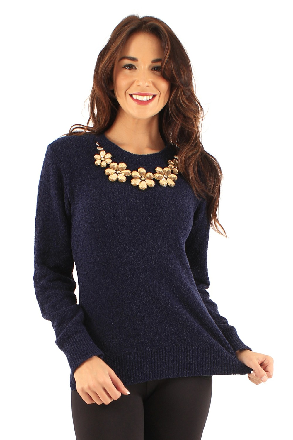 Dana Navy Embellished Flower Necklace Knit Jumper by Frocksville